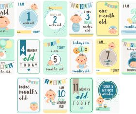 Baby growth record card vector