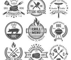 Bbq graphic flat emblems vector