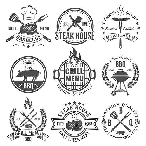 Bbq graphic flat emblems vector