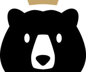 Bear king crown logo vector
