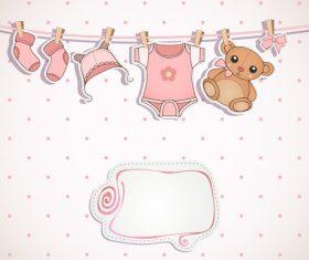 Beautiful baby invitation cards vector