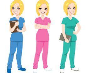 Beautiful female nurse cartoon character vector