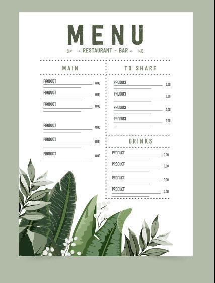 Beautifully designed restaurant menu vector