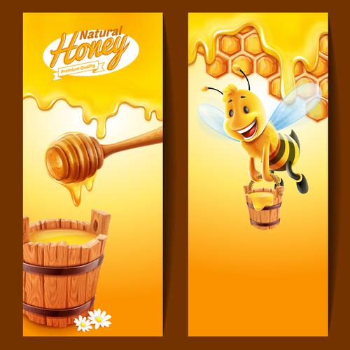 Bee background banner vector