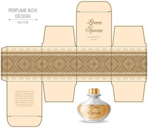 Beige packaging for perfumery in vector