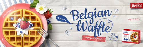 Belgian waffle flyer vector