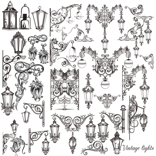 Big collection of vector  hand drawnlights for design vector