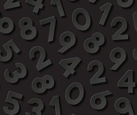 Big numbers black background vector