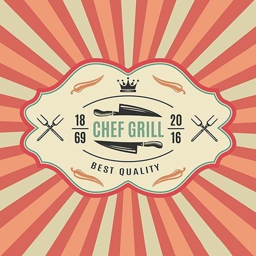 Big retro bbq label with chief grill best quality vector