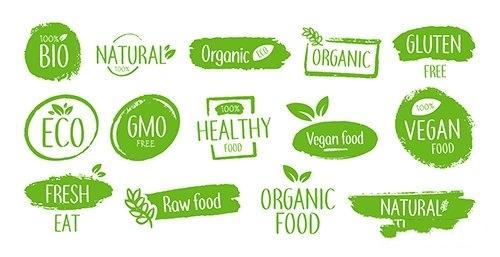 Bio product emblems vector