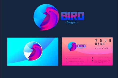 Bird logo business card vector