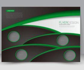 Black and green geometric figures business brochure vector
