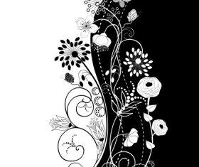 Black and white art flower vector