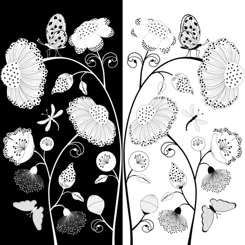 Black and white contrast flower vector