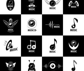 Black and white music icon collection vector