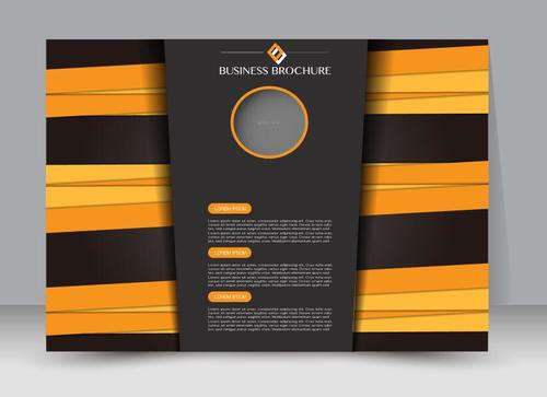 Black and yellow business brochure vector