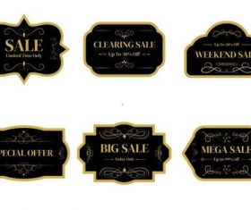 Black exquisite sale label vector