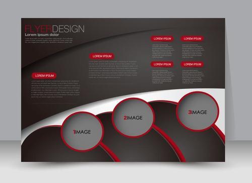 Black geometric business advertising template vector