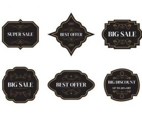 Black geometric sale tags vector