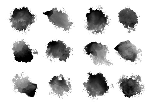 Black ink watercolor splatters drips vector