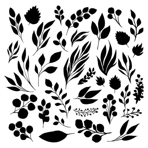 Black leaf inked silhouettes set vector isolated illustration