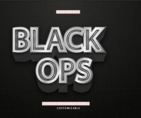 Black ops 3d font editable text style effect vector