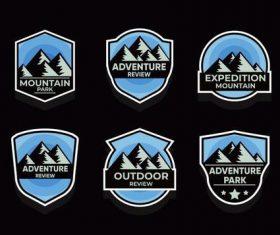 Blue adventure symbols vector set