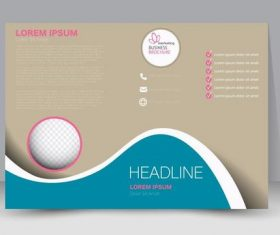 Blue and beige cover business brochure vector