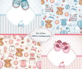 Blue and pink 2 sets of baby background card vector
