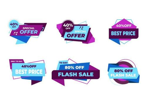 Blue and purple sale sticker vector