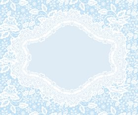 Blue background lace frame vector card