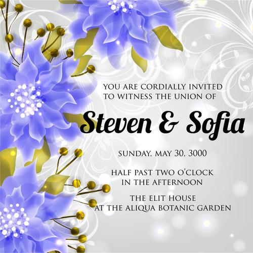 Blue flower background wedding invitation card vector