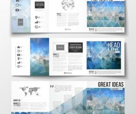 Blue grid business brochure template vector