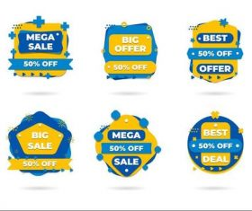 Blue half price discount sticker vector