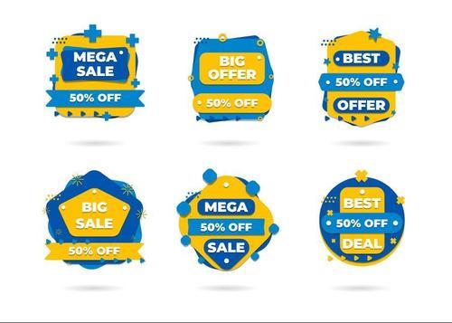 Blue half price discount sticker vector