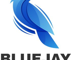 Blue jay color gradient logo vector