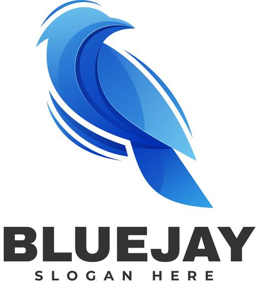 Blue jay color gradient logo vector
