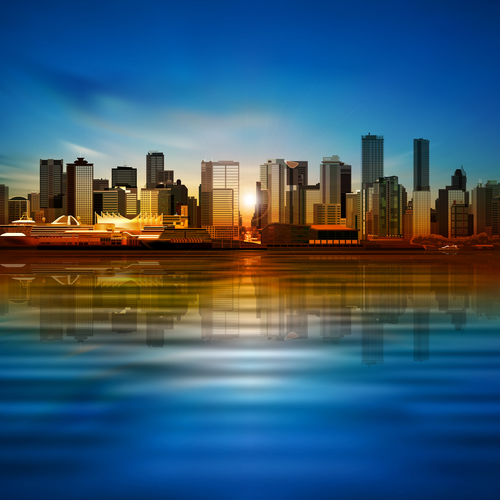 Blue morning background with panorama of city vector