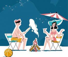 Bonfire illustrator vector