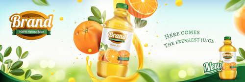 Brand pure natural juice vector