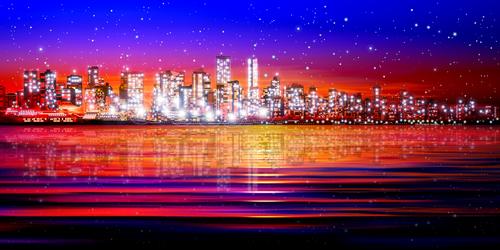Bright city vector silhouette