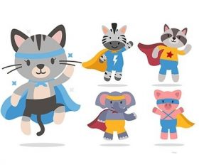 Bundle cute animal cartoon with super hero characters vector