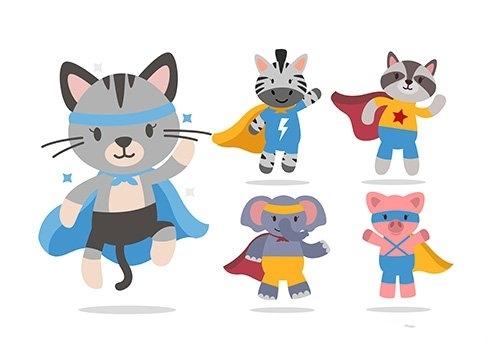 Bundle cute animal cartoon with super hero characters vector