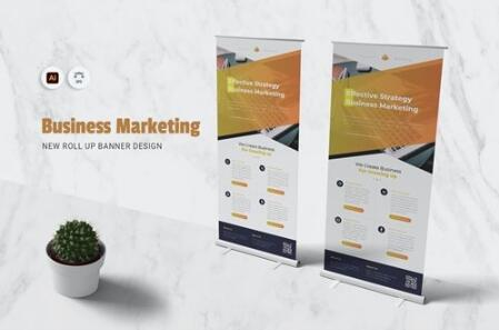 Business Marketing Roll Up Banner vector
