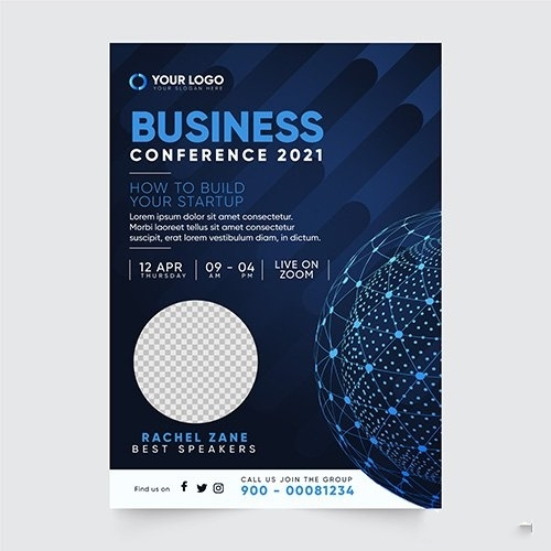 Business conference flyer print template vector