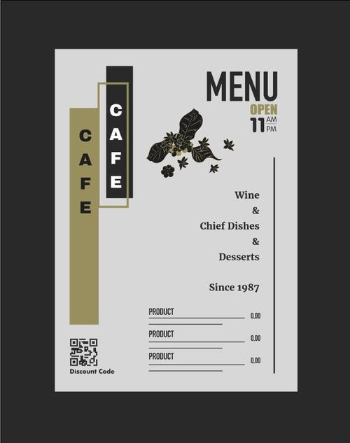 Cafe menu beautifully designed vector