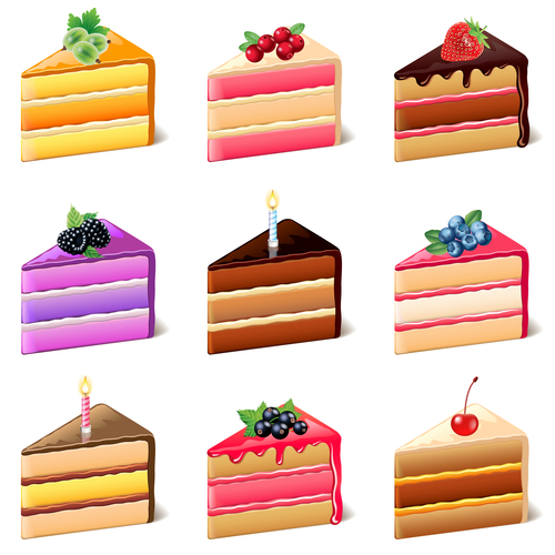 Cakes icons realistic vector