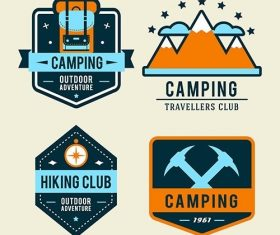 Camping flat set with hiking equipment outdoors badge vector