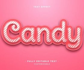 Candy 3d font editable text style effect vector