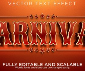 Carnival 3d editable text style effect vector